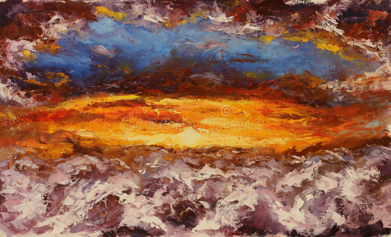 Abstract flying over clouds in a dream. Abstract sunset. Original oil painting abstract flying over clouds in a dream. Abstract sunset on canvas. Impasto artwork royalty free illustration