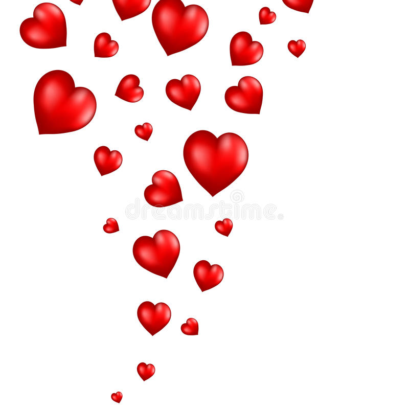 Abstract Flying Red Hearts Background Stock Photos