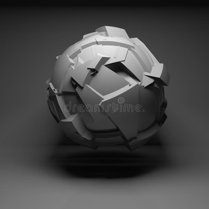 Abstract flying spherical object 3d art. Abstract flying spherical object with chaotic fragmentation surface in black empty room interior, 3d render illustration royalty free illustration