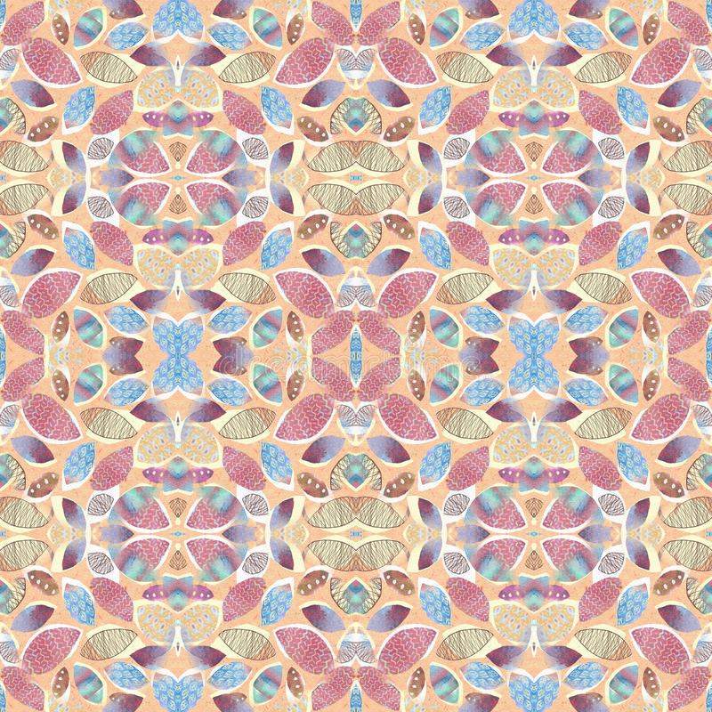 Abstract foliage seamless kaleidoscopic pattern background for your design. vector illustration