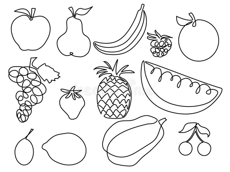 Line Art Fruits : Abstract fruits one line drawing design stock vector