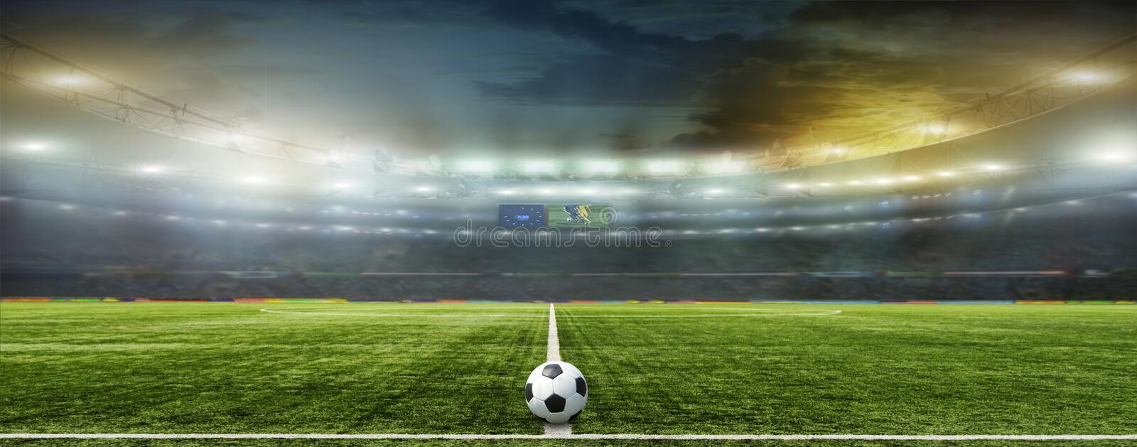 On The Stadium Abstract Football Or Soccer Backgrounds: Abstract Football Or Soccer Backgrounds Stock Image