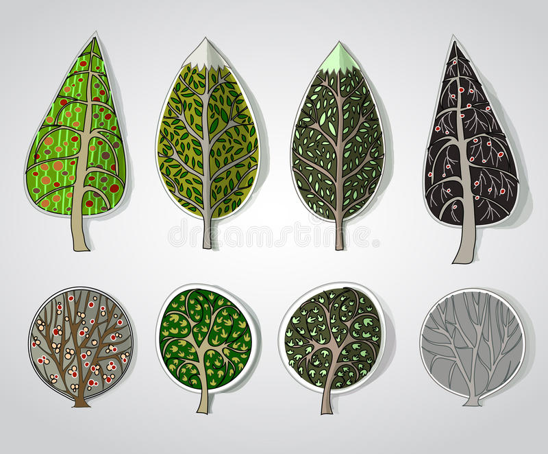 Abstract forest background. Collection made of paper stickers effect vector illustration