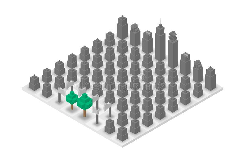 Abstract Forest and Building chess 3D isometric virtual, World Environment Day concept design stock illustration