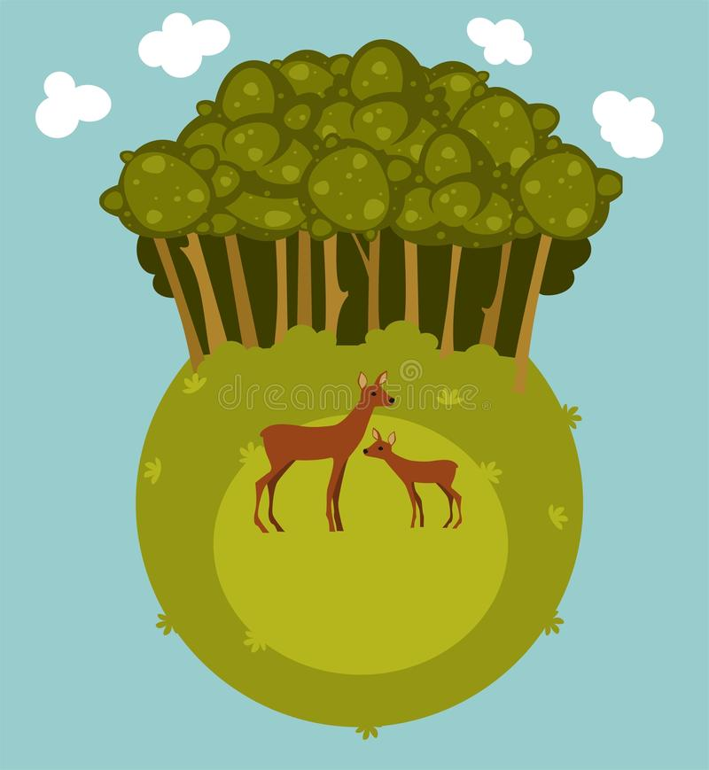 Abstract forest landscape. Illustration of forest landscape with deer royalty free illustration