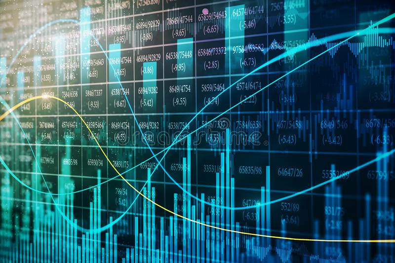 Abstract forex chart backdrop. Abstract glowing forex chart backdrop with candlestick. 3D Rendering stock illustration