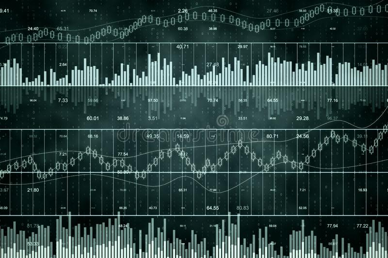 Abstract forex chart. Grid background. Invest and stats concept. 3D Rendering royalty free illustration