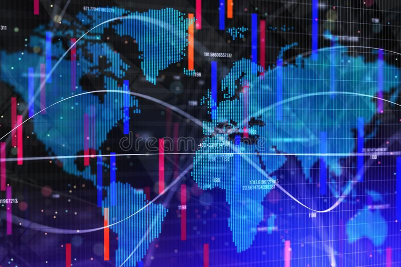 Abstract forex wallpaper. With map and lines. Investment, trade and finance concept. 3D Rendernig stock images