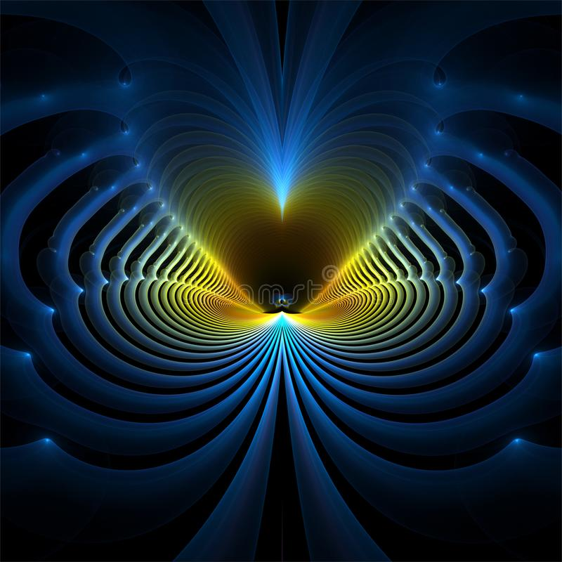 Digital computer fractal art abstract fractals blue waves royalty free illustration