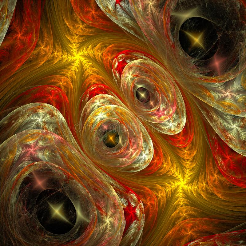 Abstract fractal art funny eyes and red yellow spirals stock illustration