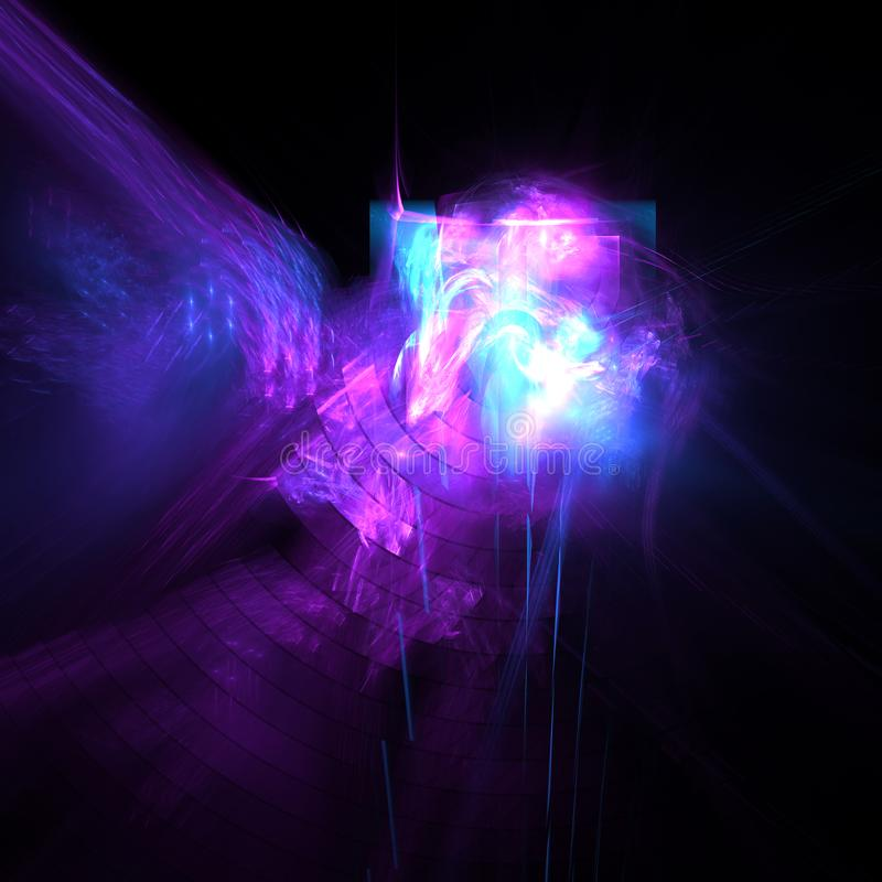 Abstract fractal art design. On a dark background. Computer generated image made with fractal rendering software royalty free illustration