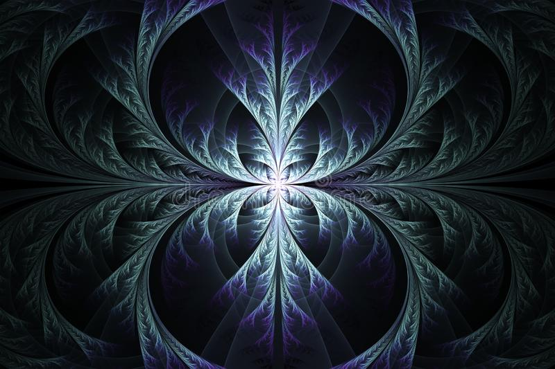Abstract fractal art design. On a dark background. Computer generated image made with fractal rendering software stock illustration