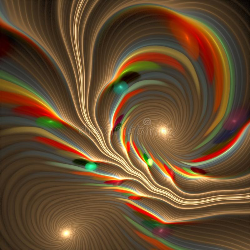 Abstract fractal art spirals bubbles whirl in pastel colors stock illustration