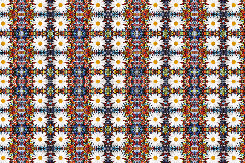 Abstract fractal background - camomiles and beads royalty free stock photo