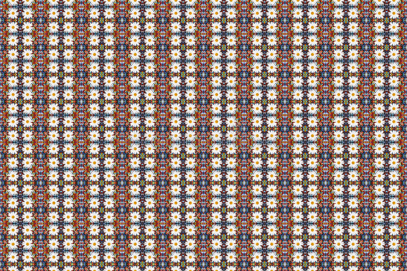 Abstract fractal background - camomiles and beads stock photos