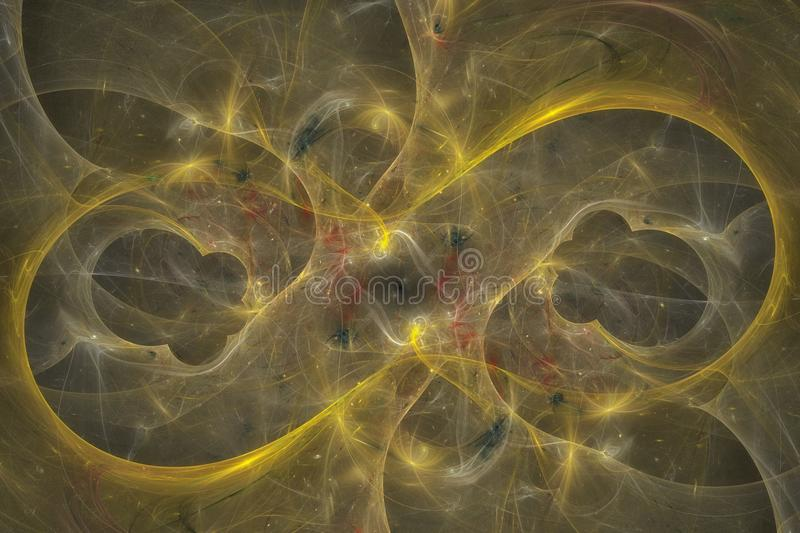 Abstract fractal background. Highly detailed background in orange and gold tones with elements of spirals, lines and patterns. For royalty free stock images