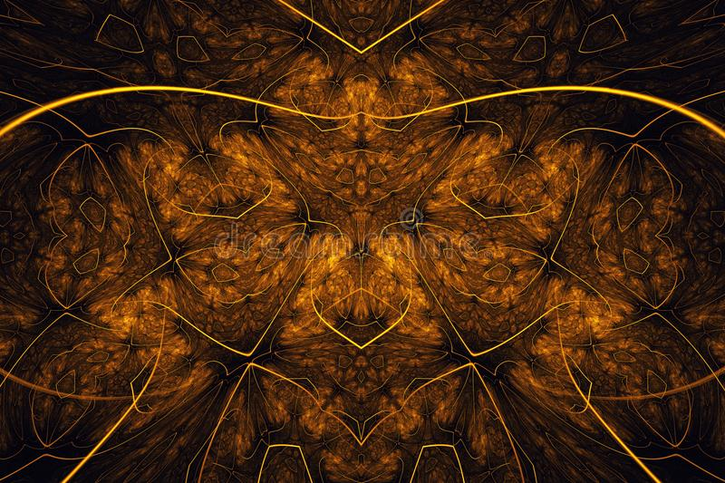Abstract fractal background. Highly detailed background in orange tones with elements of spirals, lines and patterns. For your cre stock image