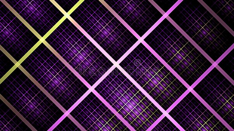 Abstract fractal background made out of a detailed interconnected grid made out of small and large rechtangles in shining colors. royalty free illustration