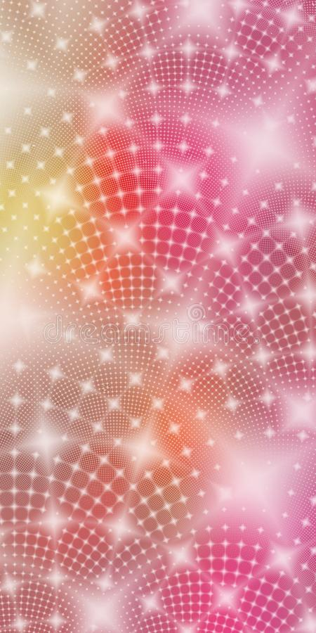 Colorful pink yellow white glowing fractal stars abstract wallpaper background. Abstract fractal background wallpaper featuring glowing white stars on a bright vector illustration