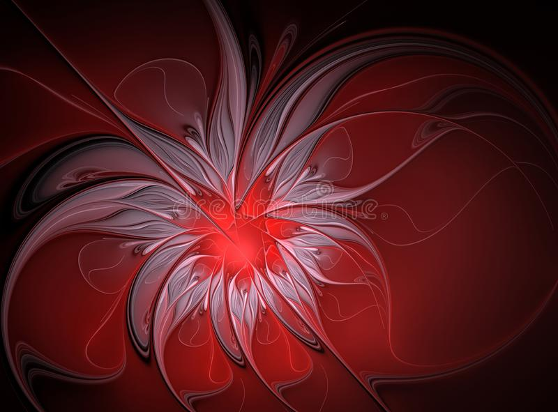 Abstract fractal bright red with white flower royalty free stock photos