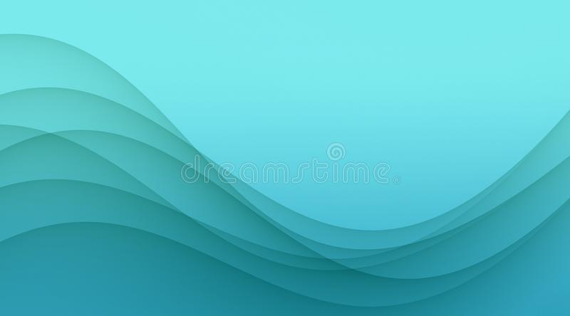 Elegant bright blue soft wavy curves abstract wallpaper background vector illustration