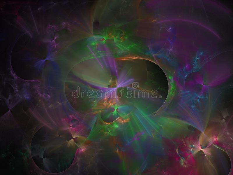 Abstract fractal color digital dynamic motion decoration template backdrop science flow background, pattern, effect design stock illustration