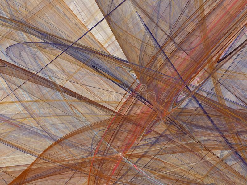 Abstract fractal with colorful curved lines and waves stock photo