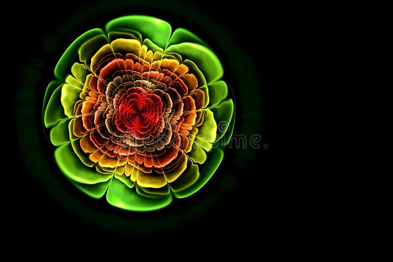 Abstract fractal computer-generated image of a flower with colorful petals and with a red middle. The flower looks like a jewel stock photo