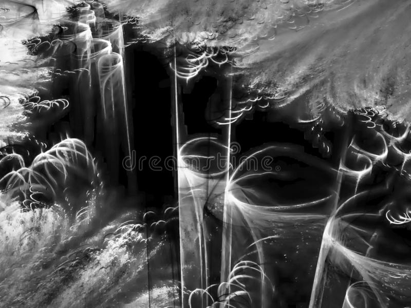 Abstract fractal, motion backdrop nebula energy fantasy background, black and white design graphic stock images