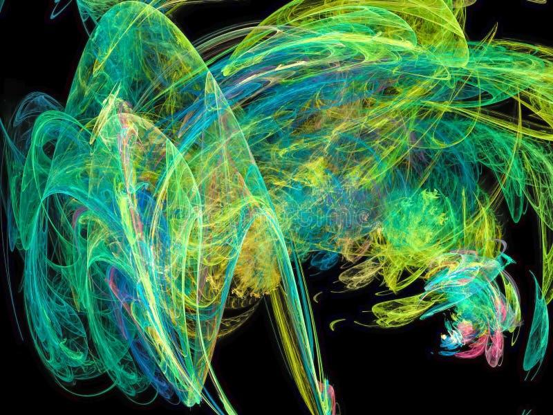Abstract vibrant digital overlay swirl design futuristic fractal pattern. Abstract fractal digital background vibrant futuristic connection design fantasy flame vector illustration