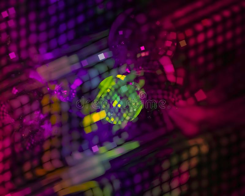 Abstract fractal digital element future shape motion sparkle card curl , disco, party. Abstract fractal digital design , disco, party backdrop card sparkle vector illustration