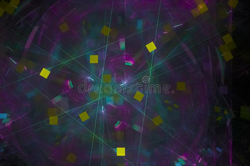 Glowing cosmos science firework  style texture backdrop splash power fantasy explosion design splash, sparkle. Abstract   fractal fantasy design splash sparkle stock illustration