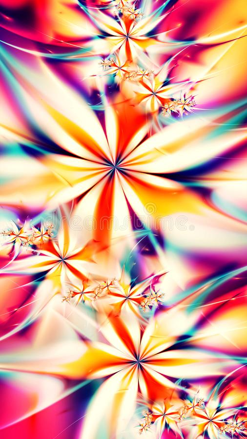 Abstract fractal flowers background - 8K resolution royalty free illustration