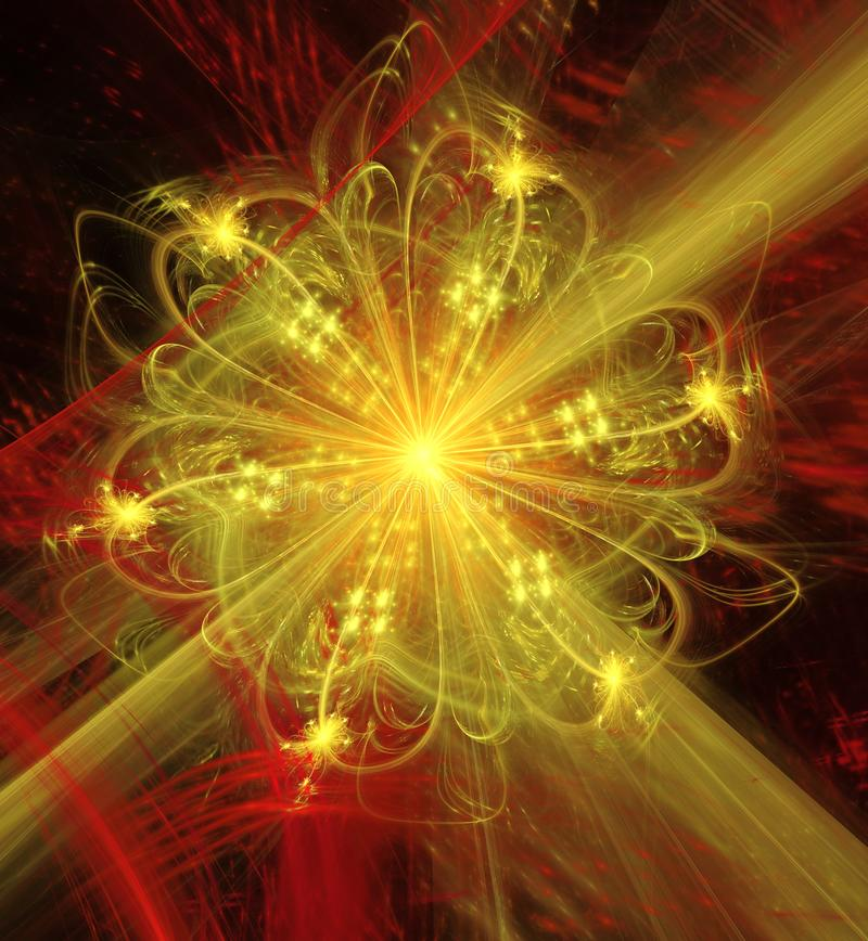 Abstract fractal futuristic golden flower vector illustration