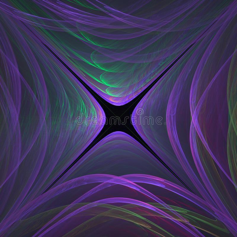 Abstract fractal glowing violet green tunnel. Design, science th vector illustration