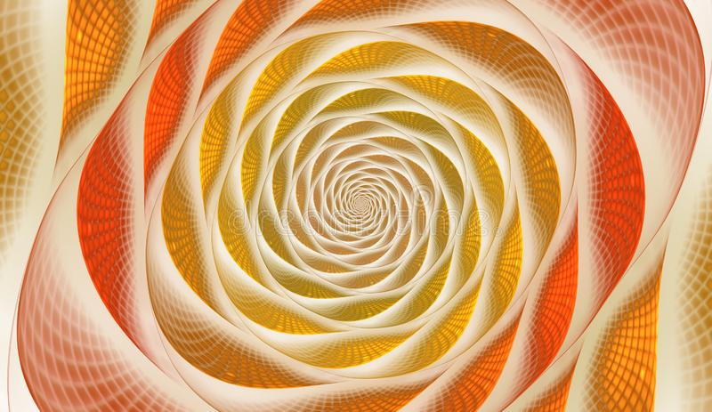 Abstract fractal with grids and spirals, spiral flower usable for desktop wallpaper or for creative cover design. Polygonal wire frame infinity spiral model royalty free illustration