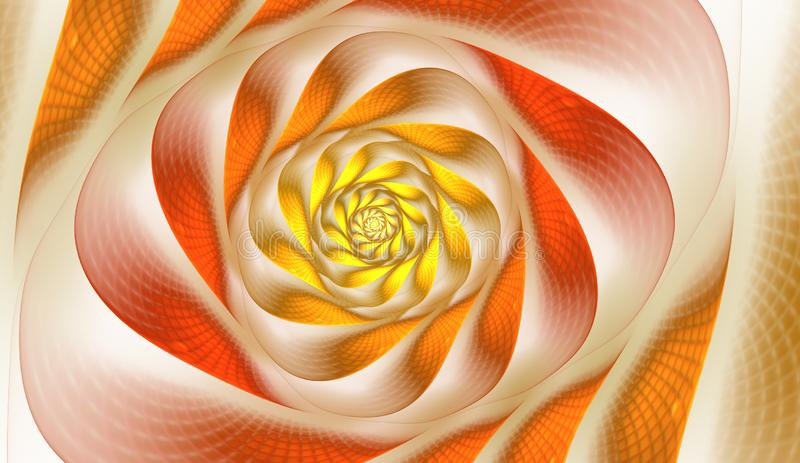 Abstract fractal with grids and spirals, spiral flower usable for desktop wallpaper or for creative cover design. Polygonal wire frame infinity spiral model stock illustration