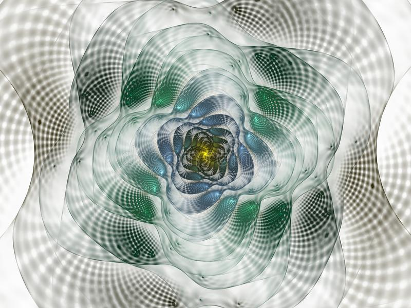 Abstract fractal with grids and spirals, spiral flower usable for desktop wallpaper or for creative cover design. Swirl frame infinity spiral model. Computer royalty free illustration