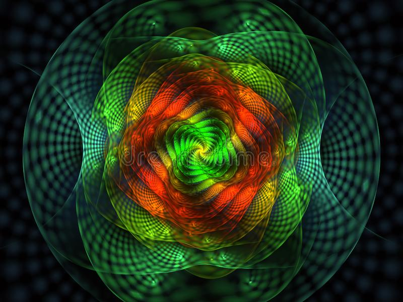 Abstract fractal with grids and spirals, spiral flower usable for desktop wallpaper or for creative cover design. Swirl frame infinity spiral model. Computer stock illustration