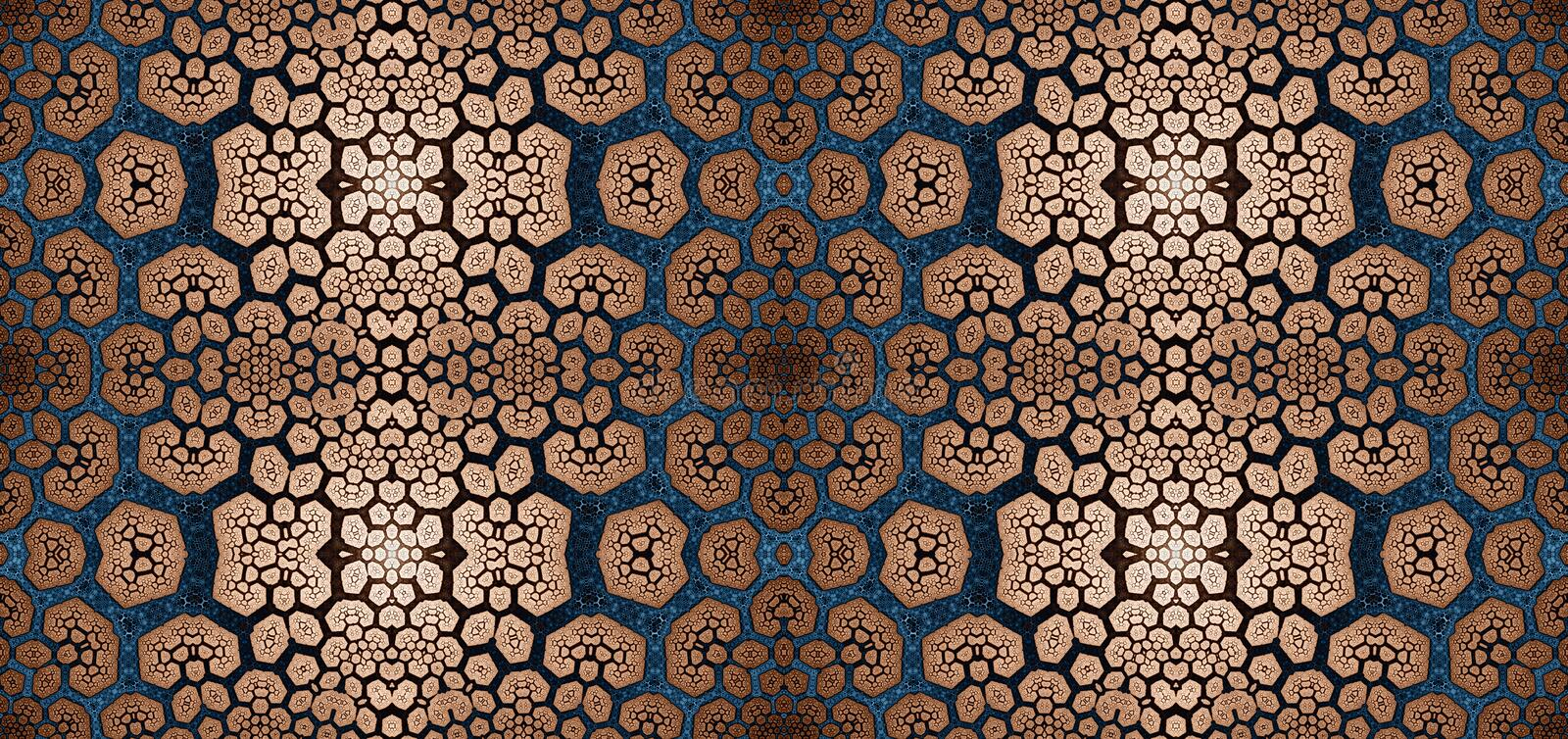Abstract fractal high resolution seamless pattern for carpets, tapestries, fabric, and wallpapers in shining colors royalty free illustration