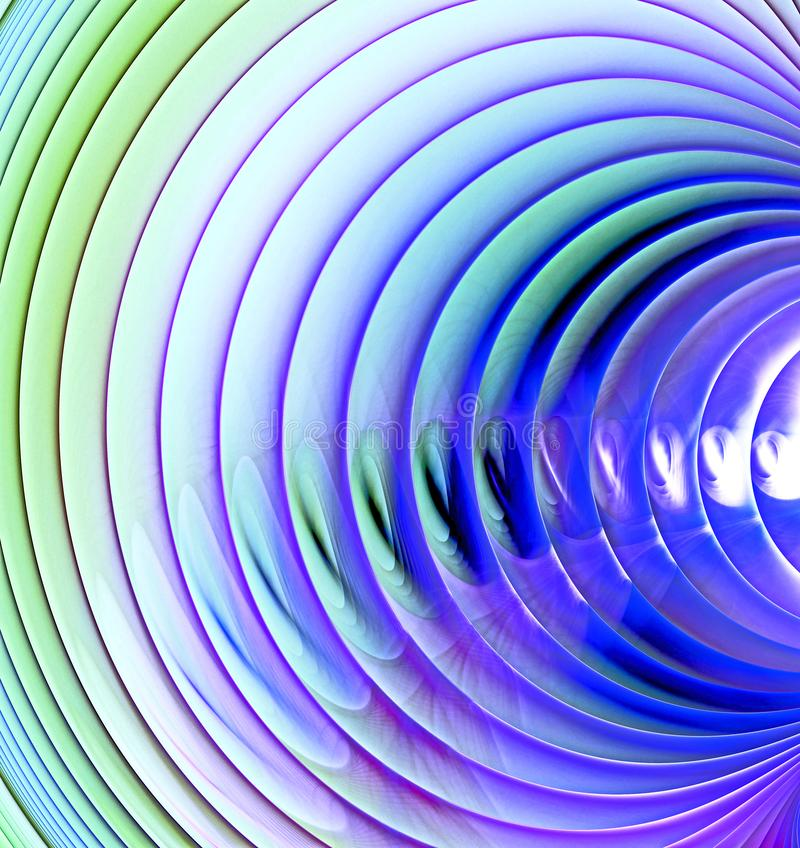 Abstract fractal image of multi-colored circles and curves with a blue tint on a light background vector illustration