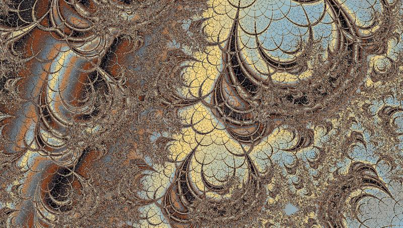 Abstract fractal labyrinth in pastel blue, brown and beige colors royalty free stock photography