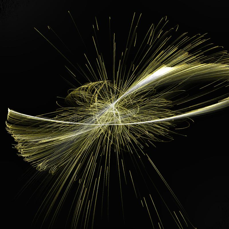Abstract Fractal spinning Illumination with gold spinning lines royalty free stock images