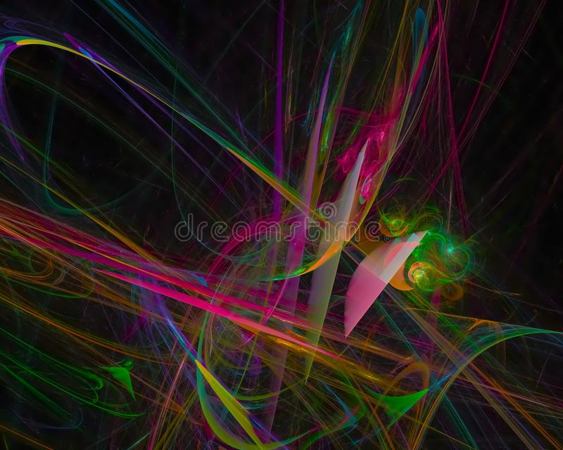 Abstract fractal texture curve shape glow wave surface banner , backdrop science. Abstract digital fractal modern surreal backdrop glow curve card wave shape royalty free illustration