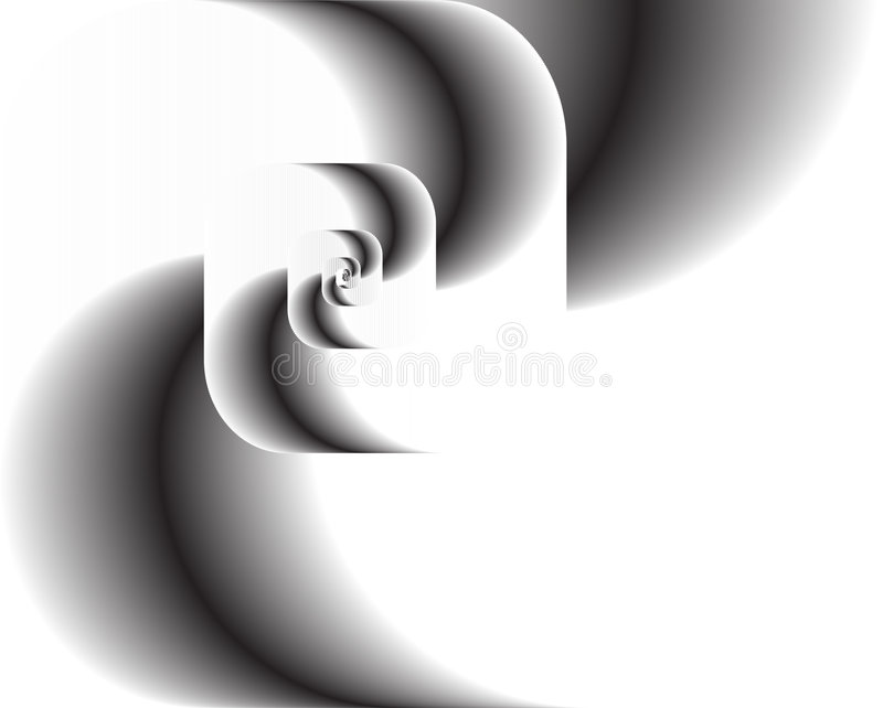 Abstract fractal twirl as logo, background. Abstract fractal swirl black and white as logo or background as a vector illustration. An artistic wallpaper. A stock illustration