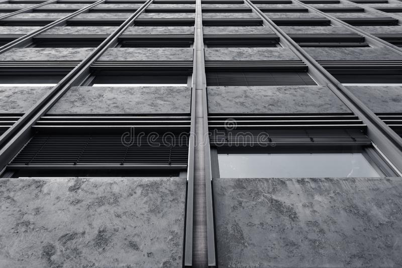Abstract fragment of modern architecture. Residential modern building royalty free stock image