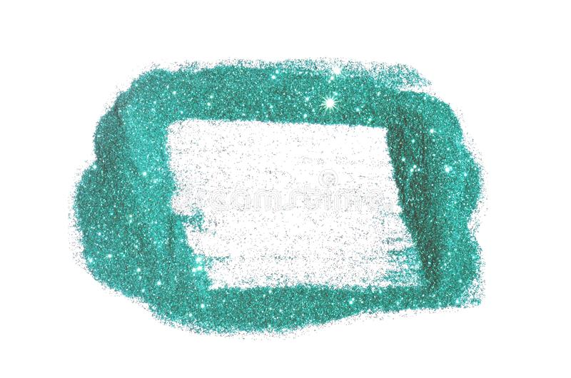 Abstract frame of blue glitter sparkle on white. Textured background with border for your design.  royalty free stock images