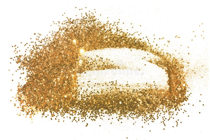 Abstract frame of gold glitter sparkle on white. Textured background with border. For your design stock images