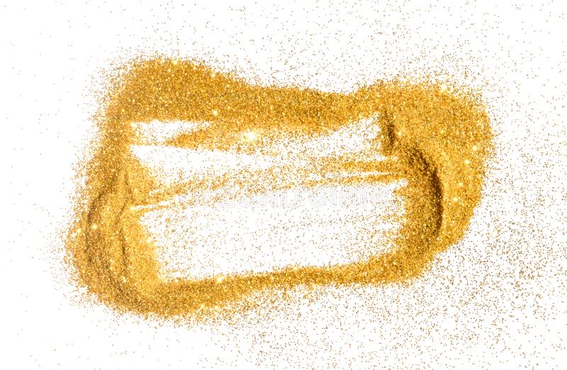 Abstract frame of golden glitter sparkle on white. Textured background with border. For your design stock photography