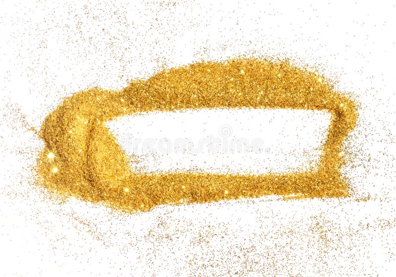 Abstract frame of golden glitter sparkle on white. Textured background with border for your design.  stock photo
